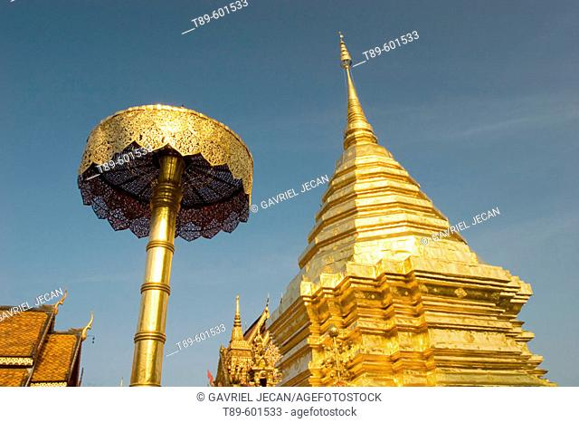 Golden Chedi and temple at Wat Doi Suthep