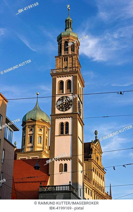 Perlach Tower and City Hall, Augsburg, Swabia, Bavaria, Germany