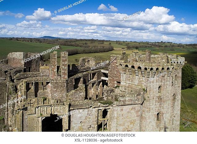 Raglan Castle GWENT WALES Roof top of castle ruins and surrounding countryside