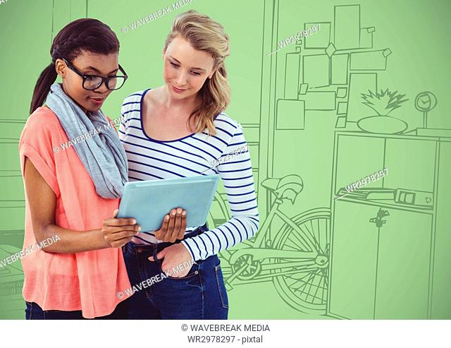 Millennial women with tablet against green hand drawn office