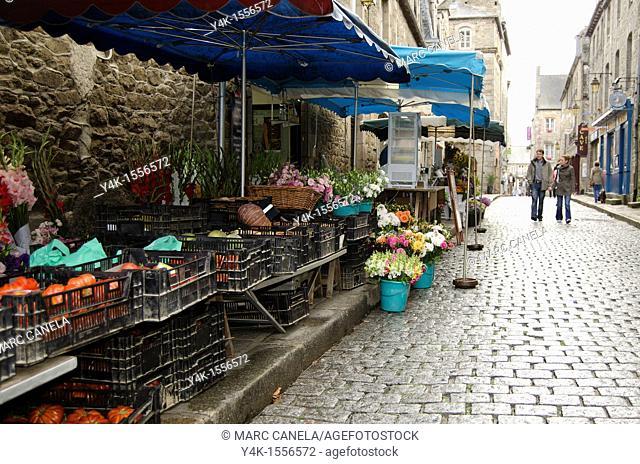 Europe, France,Bretagne Brittany region,Dinan Village, Typical market