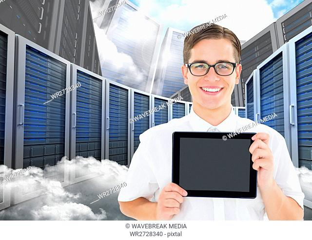 Man holding digital tablet against database server systems in sky