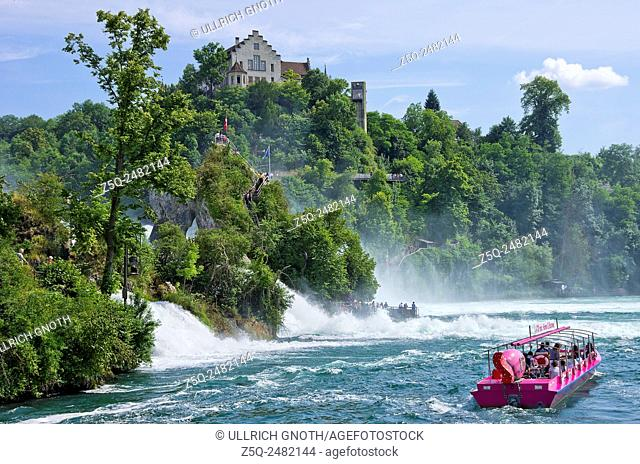 The Rhine Falls with excursion boat and Lauffen Castle, Schaffhausen, Switzerland