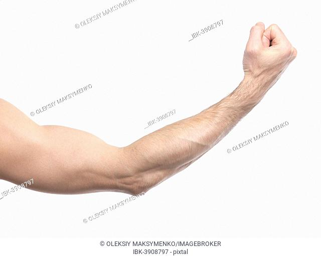 A man's arm with a clenched fist
