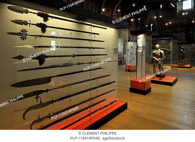 Mediaeval armoury at the Gravensteen / Castle of the Counts in Ghent, Belgium