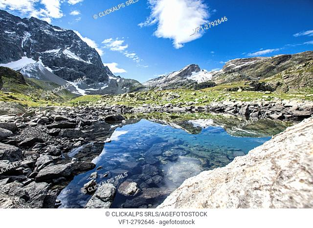 Summer day at Lake Grevasalvas Engadine Canton of Grisons Switzerland Europe