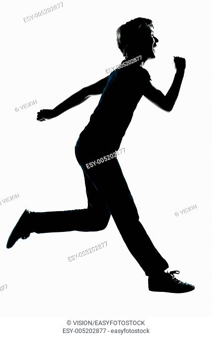 one caucasian young teenager running laughing silhouette boy or girl full length in studio cut out isolated on white background