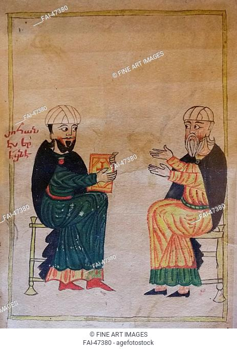 The Teaching in an Armenian primary school. Detail of a miniature from Mashtots Matenadaran by Khlatetsi, Grigor (1349-1425)/Watercolour and ink on...