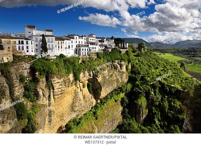 El Tajo Canyon on the Guadalevin river with white Ronda buildings Andalusia Spain
