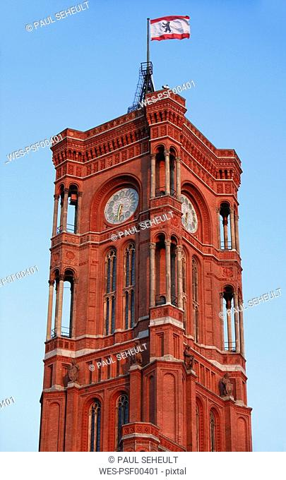 Germany, Berlin, Clock tower of the Town Hall, Red Town Hall