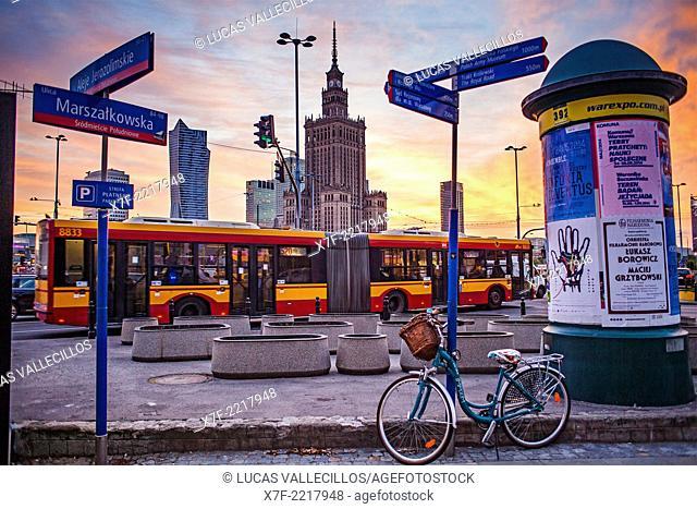 Plac Defilad square, corner of Marszalkowska street at Al.Jerozolimskie, Warsaw, Poland