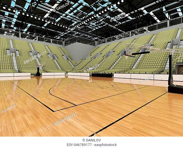 Beautiful sports arena for basketball with gray green seats and VIP boxes
