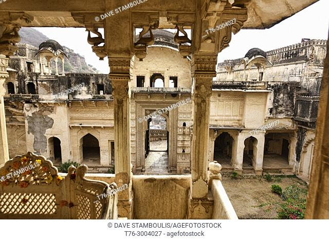 Interior of the atmospheric ruined Bundi Palace, Rajasthan, India