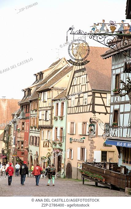 Riquewihr town on wine route Alsace known for the Riesling and other great wines in Alsace, France