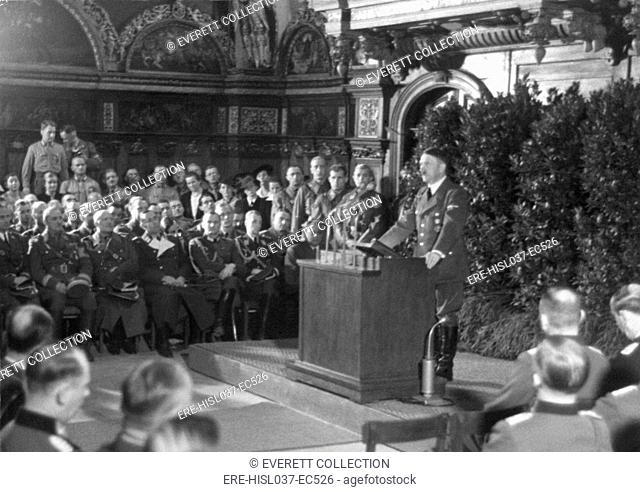 Hitler speaking in Danzig after the German invasion of Poland. He spoke to the German nation and the World from the main hall of the ancient Artus Court