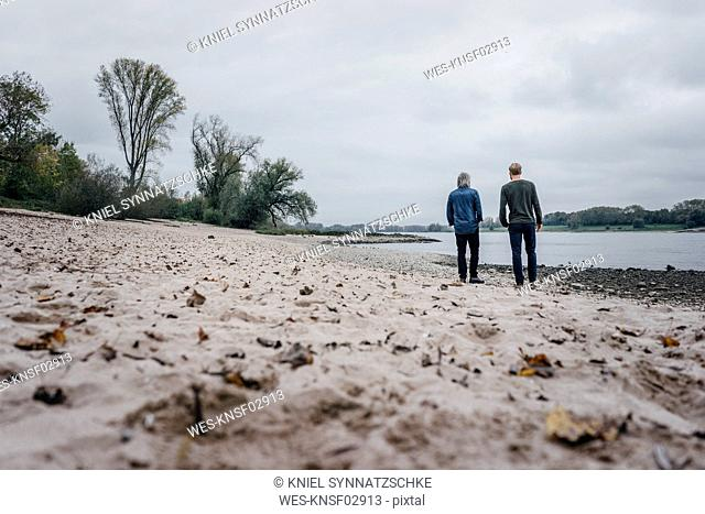 Father and son taking a stroll at Rhine river, meeting to talk