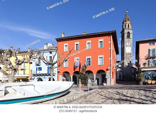 Lakefront with Chiesa Santi Pietro e Paolo (St. Peter and Paul Church). Ascona, Switzerland