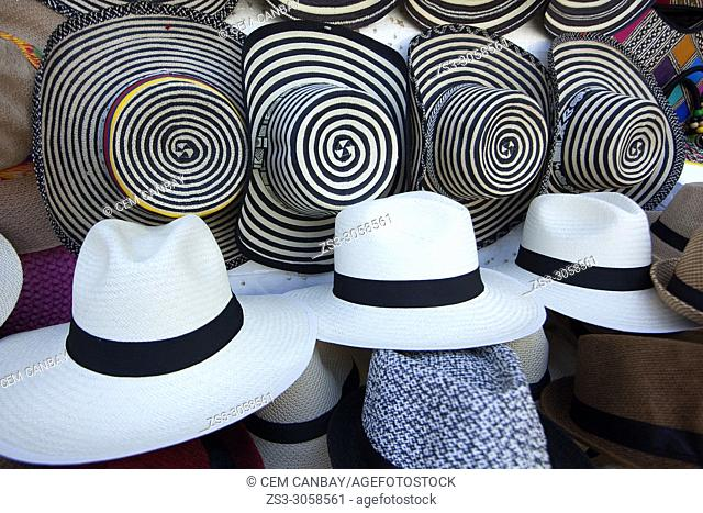 Panama hats for sale at the open-air street market, Cartagena de Indias, Bolivar, Colombia, South America
