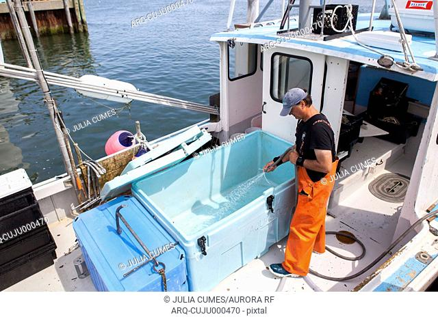 A fisherman cleans his boat after a day of fishing in Chatham, MA