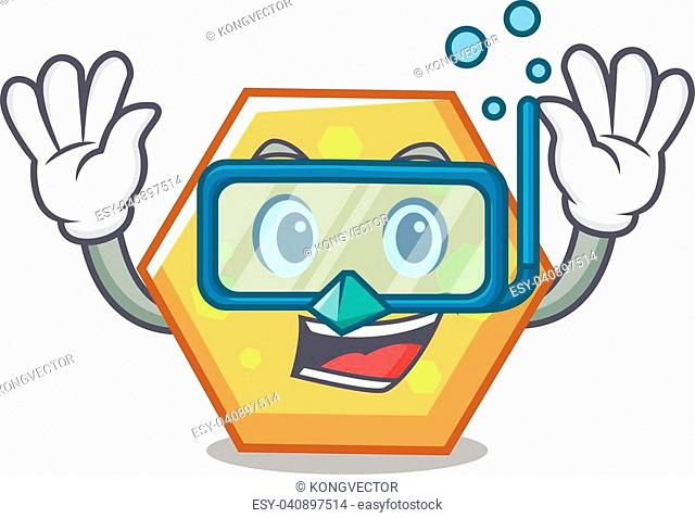 Diving hexagon character cartoon style vector illustration