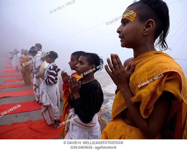 Children praying, Varanasi, Uttar Pradesh, India