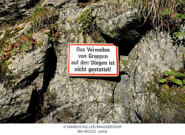 A prohibition sign in the Alploch canyon - Dornbirn, Vorarlberg, Austria, Europe