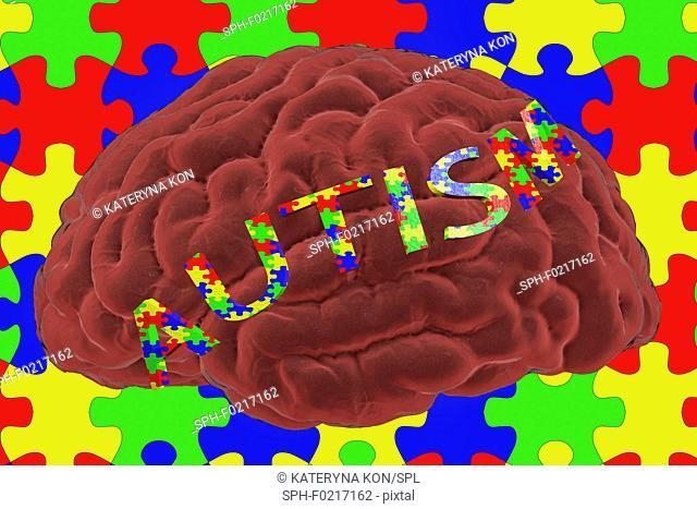 Autism spectrum disorder, conceptual illustration