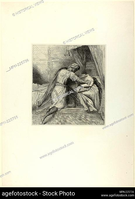 He Smothers Her, plate thirteen from Othello - 1844 - Théodore Chassériau French, 1819-1856 - Artist: Théodore Chassériau, Origin: France, Date: 1844