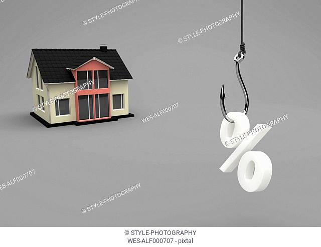 3D Illustration, house building with fishhook and symbol of percent