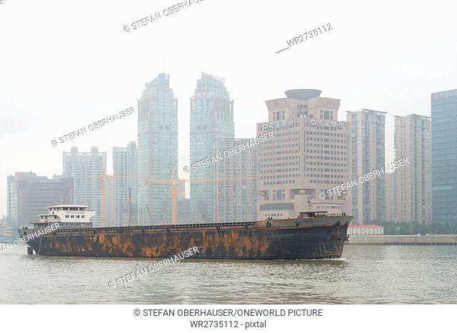 China, Shanghai, Freighter on the Huangpu River