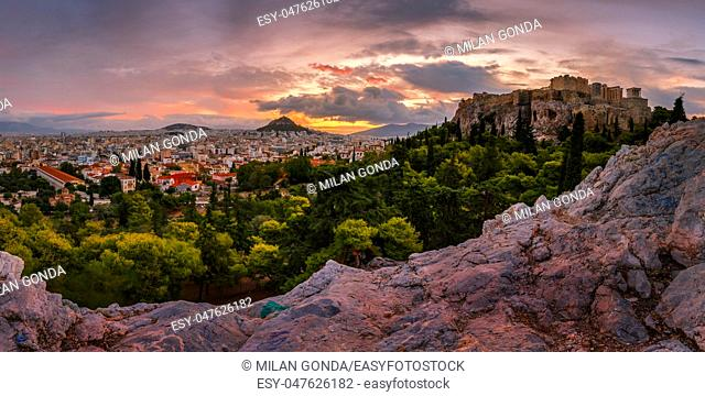 Acropolis and panoramic view of the city of Athens, Greece.