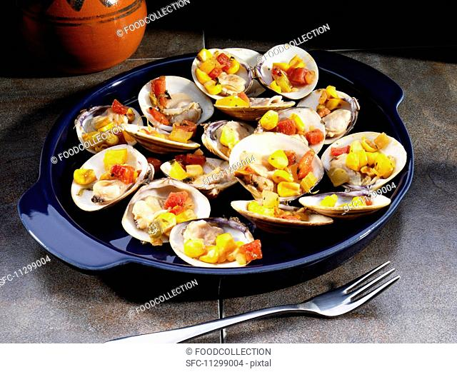 Clams filled with sweetcorn and tomatoes (Mexico)
