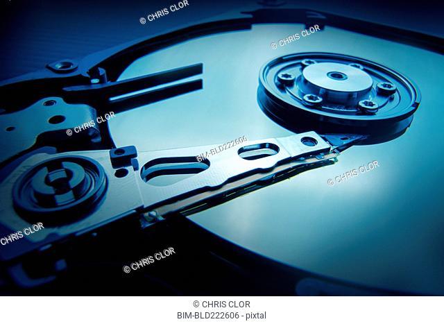 Interior of hard disc drive