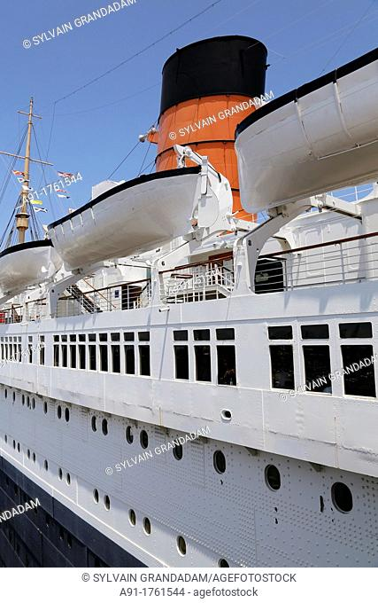 USA, California, city of Los Angeles, Long Beach, the cruise ship Queen Mary now a museum and hotel