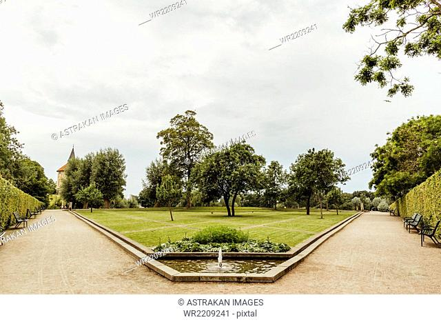 Trees and footpaths in park against sky