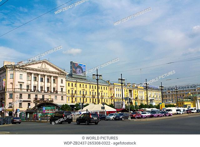 Traffic on Sadovaya at Sennaya square, Haymarket, central Saint Petersburg, Russia, Europe