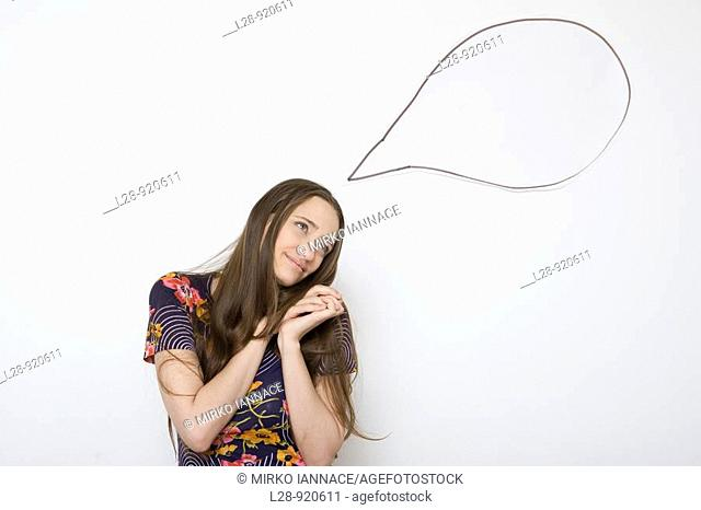 Young Woman with Word bubble