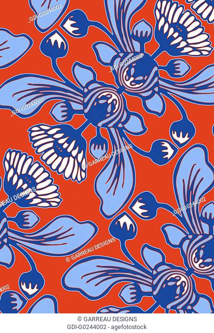 Blue African daisy design on orange background