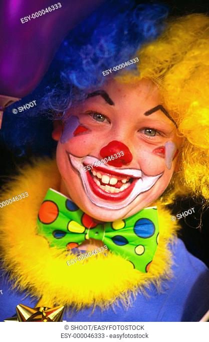 Child in clown costume