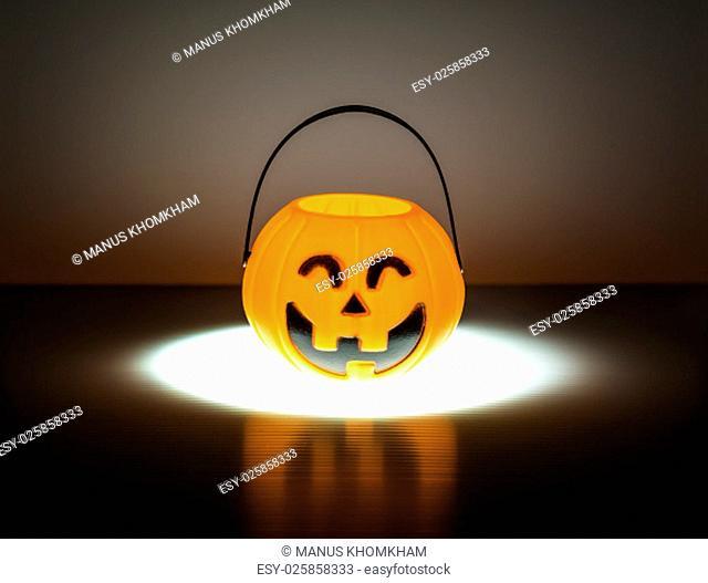 Orange Halloween Jack o Lantern with lighting