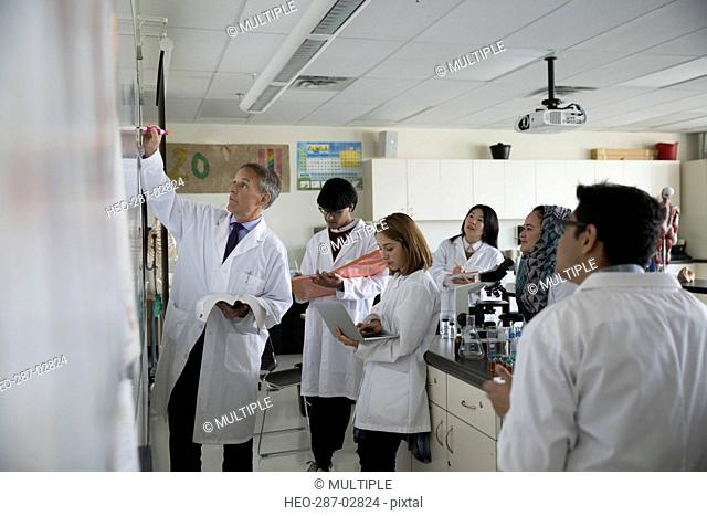 Science professor leading college students at whiteboard in laboratory