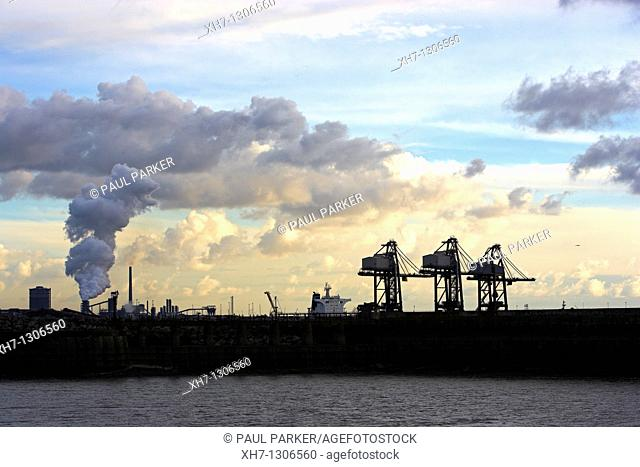 Cranes and Steelworks, Port Talbot, South Wales, UK