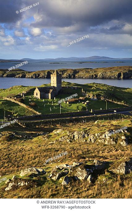 St Clement's Church at Rodel on the Isle of Harris in the Outer Hebrides, captured from a high vantage point on a morning in early November