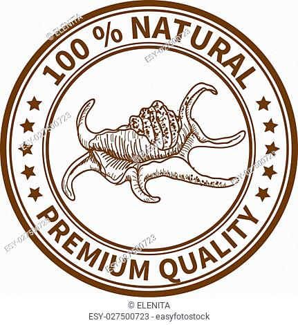 Stamp with the sea shell and the text 100% natural, premium quality