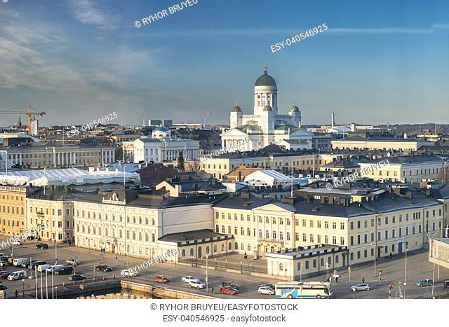 Helsinki, Finland. Aerial View Street With Presidential Palace And Helsinki Cathedral In Winter Day. View From Height