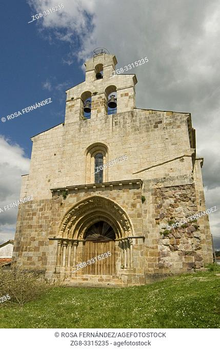 Facade, two eyed belltower and door with slightly pointed archivolts, Church of San Lorenzo, in Late-Romanesque style, XIII Century, Vallejo de Mena