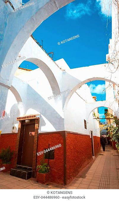 Morocco, Rabat, traditional blue streets of old town Medina