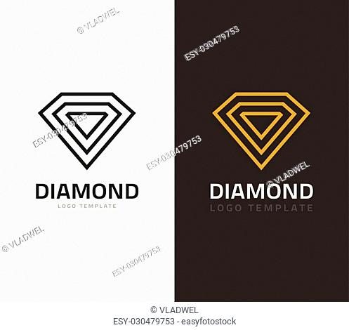 Diamond logo vector illustration isolated on white and dark background, jewel icons flat outline line style, concept of jewelry brand sign