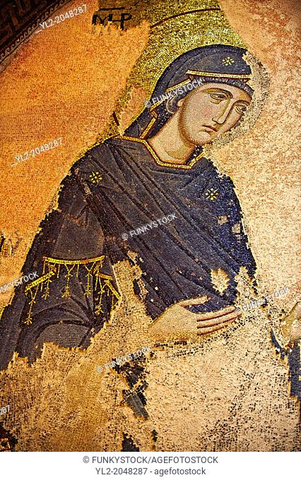 The 11th century Roman Byzantine Church of the Holy Saviour in Chora and its mosaic of the Virgin Mary praying. Endowed between 1315-1321 by the powerful...
