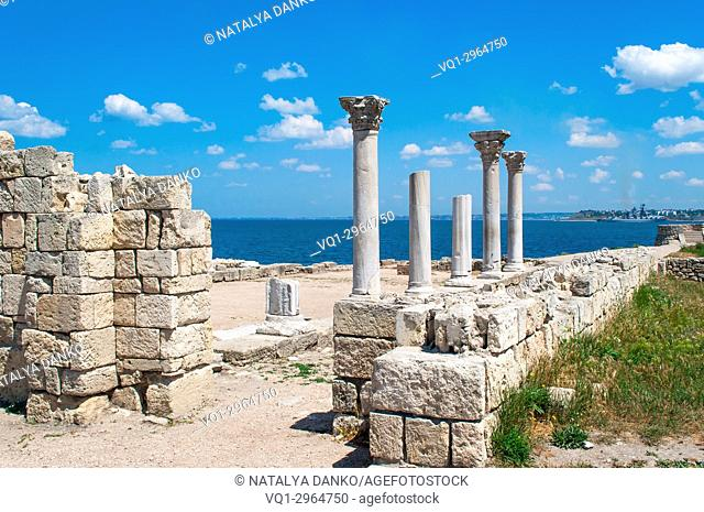columns and ruins of Chersonesos in the city of Sevastopol, Crimea Ukraine, a clear sunny day